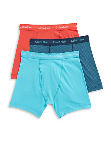 Calvin Klein Three-Pack Stretch Boxer Briefs-RED/ASSORTED-Large