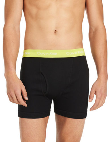 Calvin Klein Pack of Three Classic Cotton Boxer Briefs-BLACK-X-Large