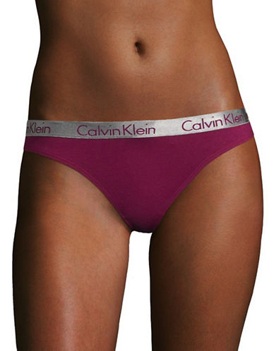 Calvin Klein Radiant Cotton Thong-INDULGE PURPLE-Large