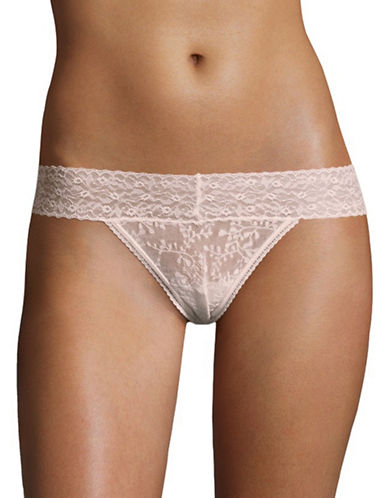 Calvin Klein Sheer Lace Thong-PINK-Large