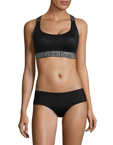 Calvin Klein Logo Stretch Bra-BLACK-Medium