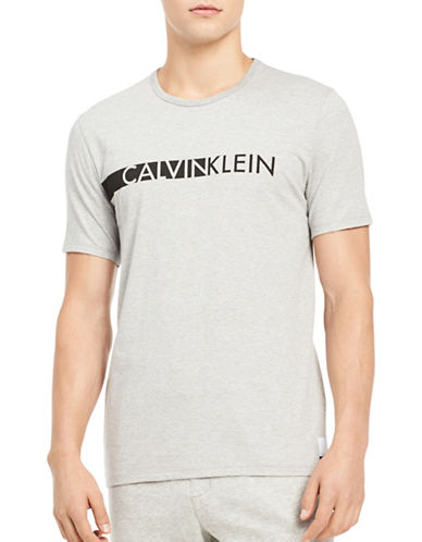 Calvin Klein Logo T-Shirt-GREY-Medium