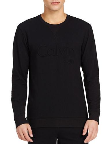 Calvin Klein Embroidered Logo Sweatshirt-BLACK-Medium