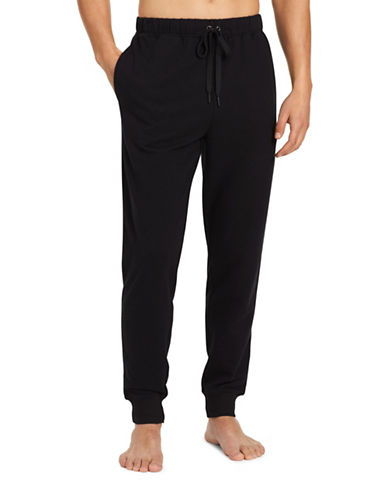Calvin Klein Embroidered Logo Sweatpants-BLACK-Small