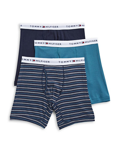 Tommy Hilfiger Three-Pack Classic Cotton Boxer Briefs-BLUE-Small