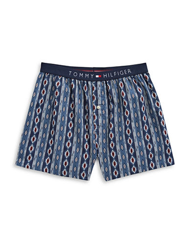 Tommy Hilfiger Woven Diamond Scroll Cotton Boxers-BLUE-Large