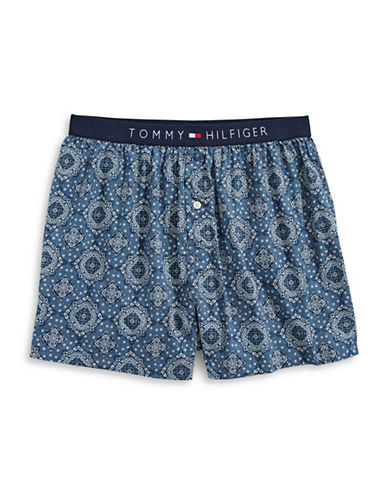 Tommy Hilfiger Woven Medallion-Print Cotton Boxers-BLUE-Large