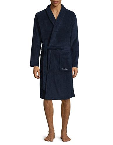 Calvin Klein Heathered Wrap Robe-BLUE-Large/X-Large