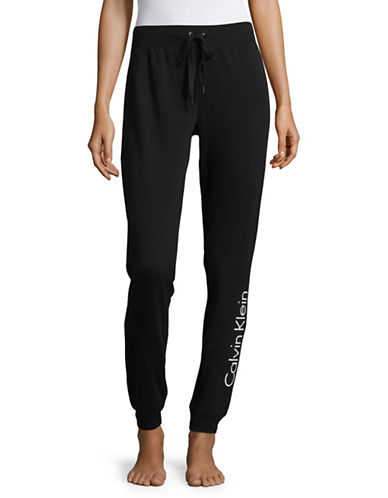 Calvin Klein Logo Sleep Sweatpants-BLACK-Medium