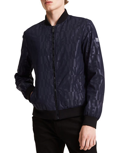 Calvin Klein Jeans Logo Bomber Jacket-BLUE-Large