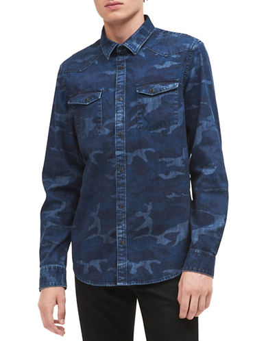 Calvin Klein Jeans Camouflage Cotton Sport Shirt-BLUE-Small