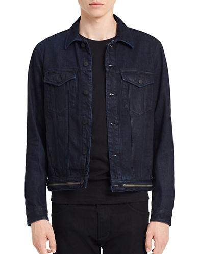 Calvin Klein Jeans Zip-Hem Denim Jacket-BLUE-X-Large