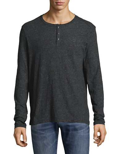 Calvin Klein Jeans Marl Cotton Henley Shirt-GREY-Large