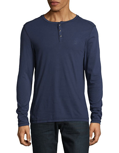 Calvin Klein Jeans Marl Cotton Henley Shirt-BLUE-Small