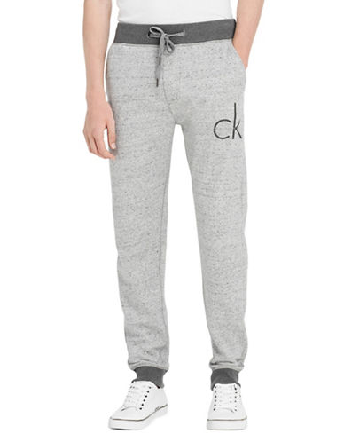 Calvin Klein Jeans Monogram Cotton Jogger Pants-GREY-Small 89604298_GREY_Small