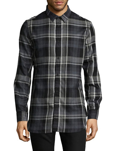 Calvin Klein Jeans Brushed Highland Plaid Button-Down Shirt-GREY-Medium