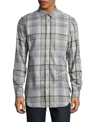 Calvin Klein Jeans Brushed Highland Plaid Button-Down Shirt-SILVER-Small