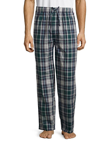 Tommy Hilfiger Plaid Fleece Pants-GREEN-Medium