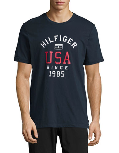 Tommy Hilfiger Flag Logo T-Shirt-DARK NAVY-Medium