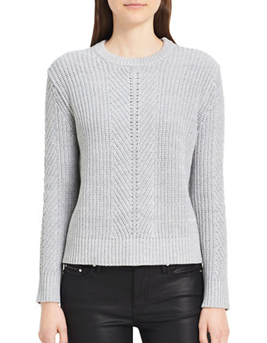 Calvin Klein Jeans Herringbone Cotton Sweater-GREY-Small