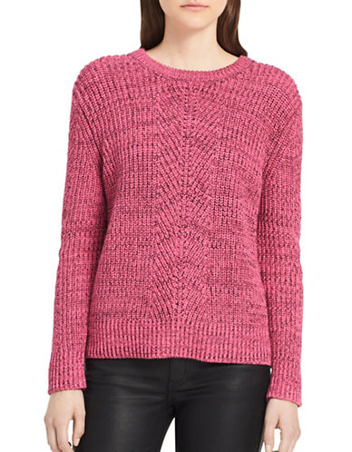 Calvin Klein Jeans Herringbone Cotton Sweater-PINK-X-Large