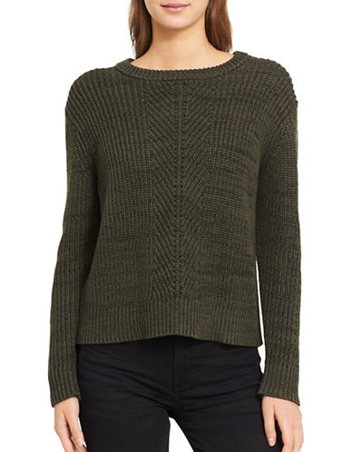 Calvin Klein Jeans Herringbone Cotton Sweater-GREEN-X-Small