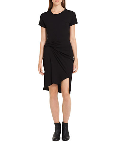 Calvin Klein Jeans Knit Hi-Lo Dress-BLACK-X-Small