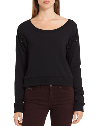 Calvin Klein Jeans Military Bondage Crop Top-BLACK-Small