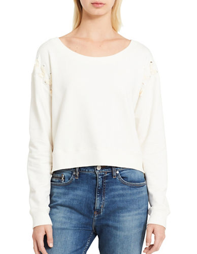 Calvin Klein Jeans Military Bondage Crop Top-WHITE-Medium
