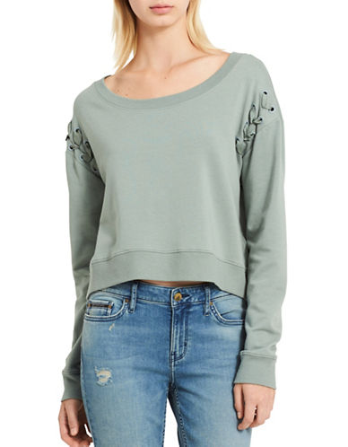 Calvin Klein Jeans Military Bondage Crop Top-GREEN-X-Large