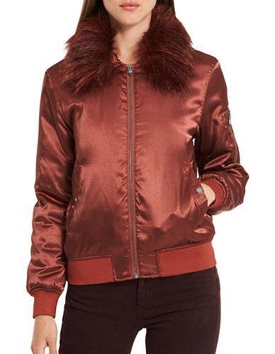Calvin Klein Jeans Faux-Fur Satin Jacket-MAHOGANY-Medium