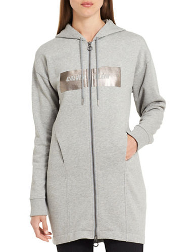 Calvin Klein Jeans Motion Sport Duster Hoodie-MIXED GREY-Medium