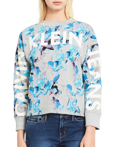Calvin Klein Jeans Floral Cropped Sweatshirt-MIXED GREY-Large