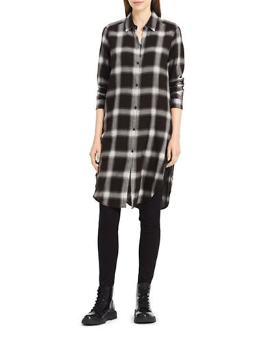 Calvin Klein Jeans Cozy Plaid Cotton Shirtdress-BLACK-X-Small