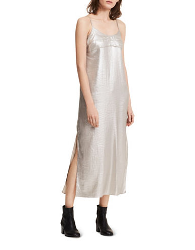 Calvin Klein Jeans Metallic Silky Slip Dress-SILVER-Medium
