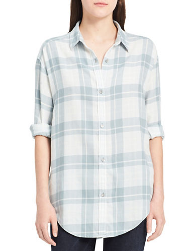 Calvin Klein Jeans Graphic Shadow Cotton Button-Down Shirt-MARSHMALLOW-X-Small