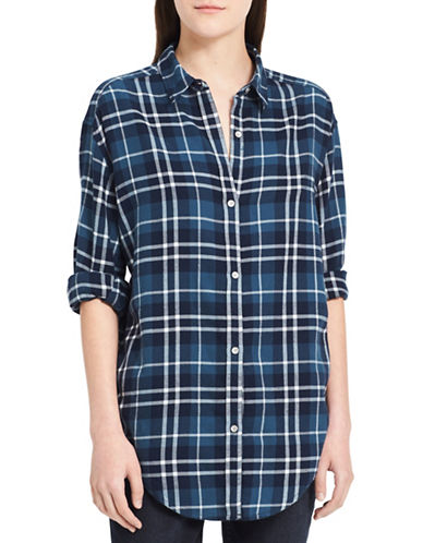 Calvin Klein Jeans Graphic Shadow Cotton Button-Down Shirt-SLATE-Small