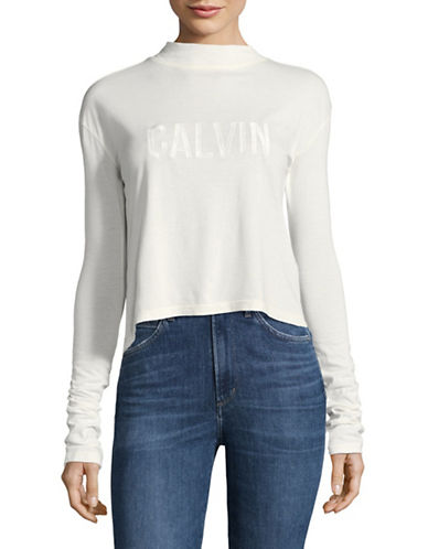 Calvin Klein Jeans Mock Neck Pullover-MARSHMALLOW-X-Large
