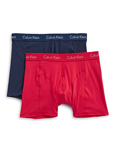 Calvin Klein Two-Pack Flatlock Seam Stitched Boxer Briefs-RED-X-Large