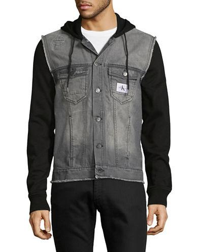 Calvin Klein Jeans Mixed Media Trucker Jacket-GREY-Medium