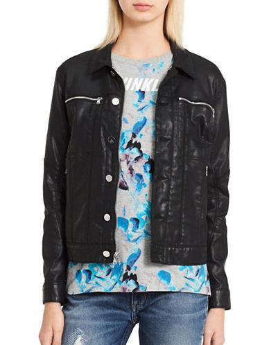 Calvin Klein Jeans Seductive Moto Jacket-BLACK-X-Small