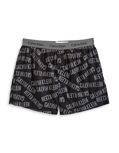 Calvin Klein Slim Fit Woven Boxers-BLACK/WHITE-Large