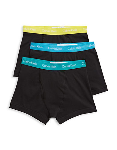 Calvin Klein Three-Pack Cotton Stretch Trunks-BLACK/WHITE-Small