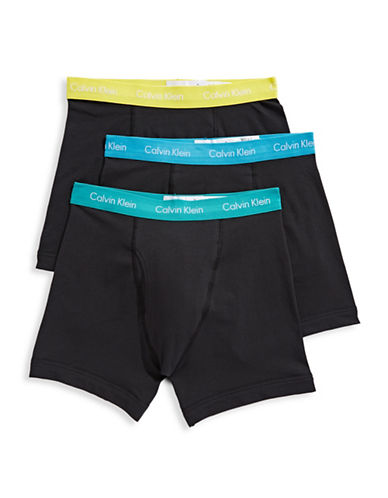Calvin Klein Three-Pack Cotton Stretch Boxer Briefs-BLACK/MULTI-X-Large