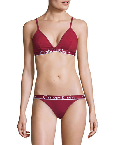 Calvin Klein ID Unlined Triangle Bra-RED-Medium