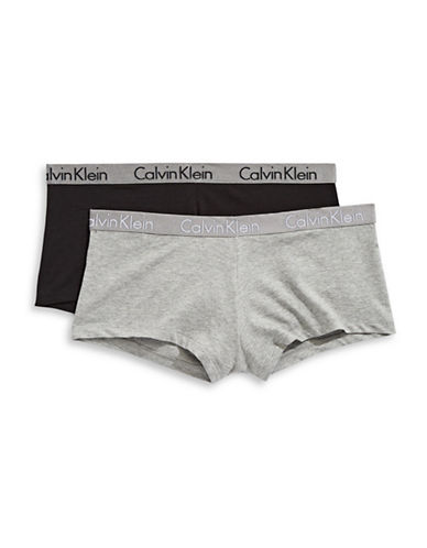 Calvin Klein Two-Pack Radiant Boyshorts-BLACK/GREY-Small