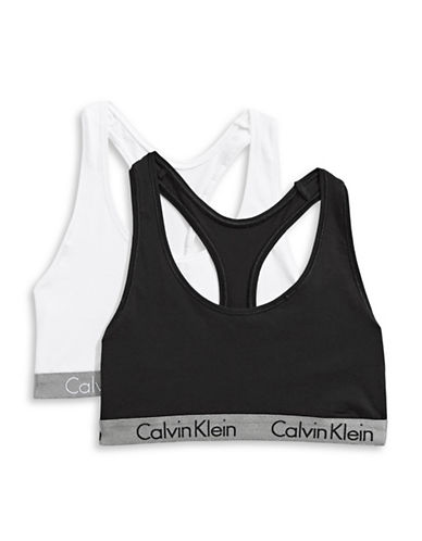 Calvin Klein Two-Pack Radiant Bralettes-BLACK/WHITE-X-Small