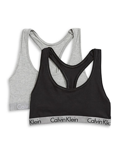 Calvin Klein Two-Pack Radiant Bralettes-BLACK/GREY-X-Small