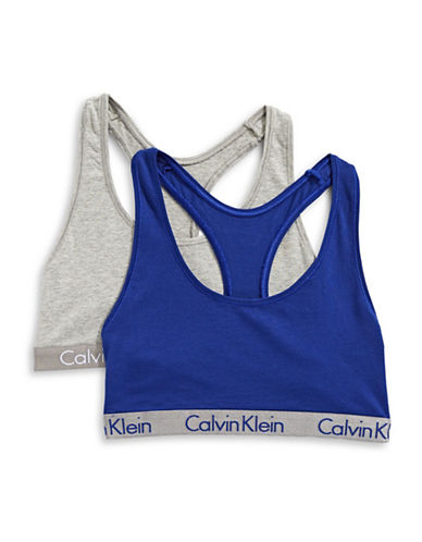 Calvin Klein Two-Pack Radiant Bralettes-GREY/BLUE-Medium