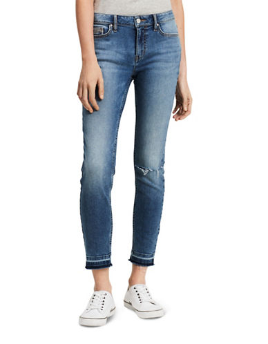 Calvin Klein Jeans Distressed Mid-Rise Ankle Skinny Jeans-WATERFALL-25